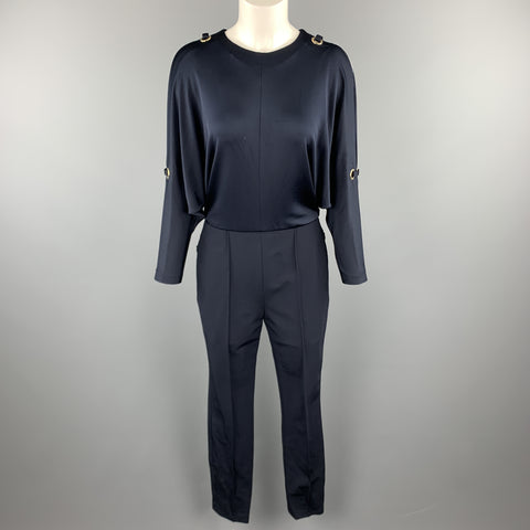 ESCADA Size 6 Navy Grommet Cold Shoulder Batwing Sleeve Jumpsuit