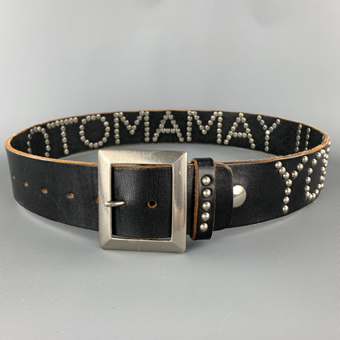 Vintage YOHJI YAMAMOTO Size 32 Black Studded Name Leather Belt