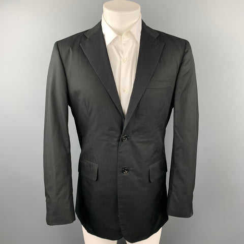 R13 Size 40 Black Embroidery Cotton Notch Lapel Sport Coat