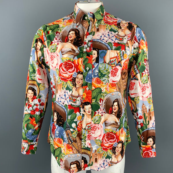 GITMAN VINTAGE Size L Multi-Color Print Cotton Button Down Long Sleeve Shirt