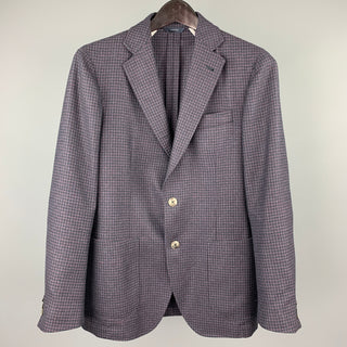 TOMBOLINI Size 36 Purple & Black Wool Notch Lapel Sport Coat