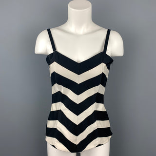 LOUIS FERAUD Size 8 Black & White Chevron Cotton Fitted Bustier