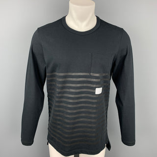 NICK WOOSTER x PAUL & SHARK Size M Black Stripe Cotton Crew-Neck Pullover