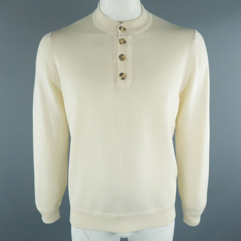 BRUNELLO CUCINELLI Size 44 Beige Cable Knit Cashmere Henley Sweater