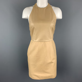 3.1 PHILLIP LIM Size 4 Camel Beige Leather Halter Dress
