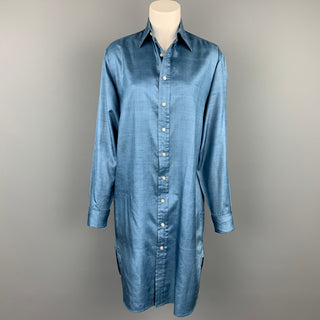 RALPH LAUREN Blue Label Size 8 Blue Silk Buttoned Shirt Dress