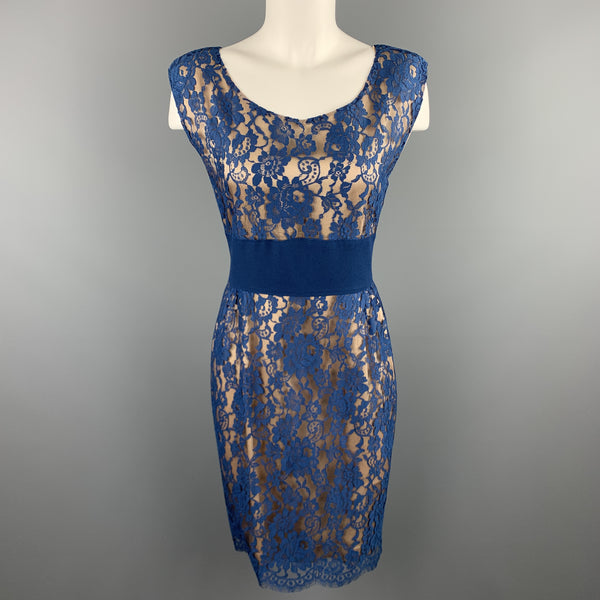 ROSANNA MANZONI Size 10 Blue Silk Lace Shift Cocktail Dress