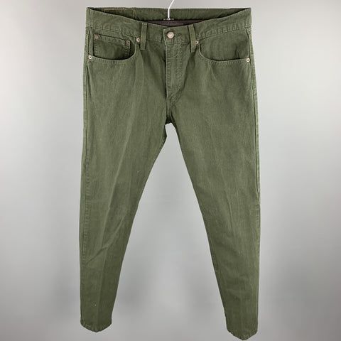 LEVI'S 512 Size 32 Forest Green Cotton Zip Fly Jeans