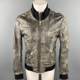 D&G by DOLCE & GABBANA Size 38 Grey Patchwork Leather Zip Up Jacket