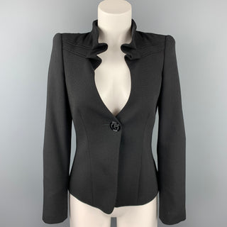 GIORGIO ARMANI Size 0 Black Dots Wool / Polyester Ruched Collar Single Breasted Jacket