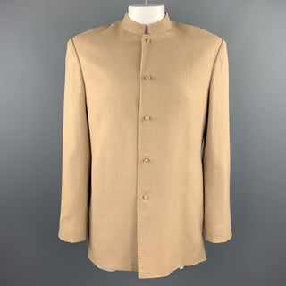 Vintage 42 Khaki Wool Mandarin Collar Top Stitch Jacket