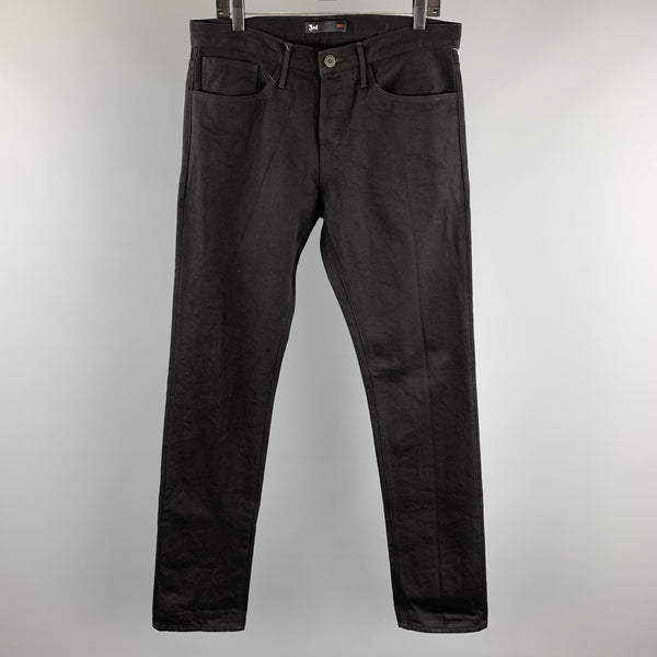 3 X 1 Size 33 Black Selvedge Denim Button Fly Jeans