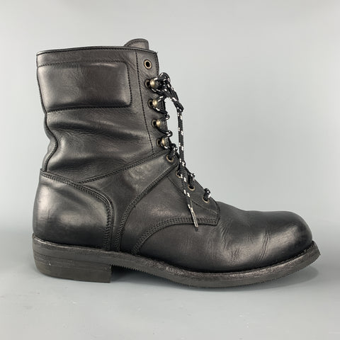 RALPH LAUREN Purple Label Size 12 Black Leather Lace Up Work Boots