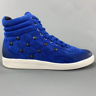 JUST CAVALLI Size 10.5 Quilted Royal Blue High Top Sneakers