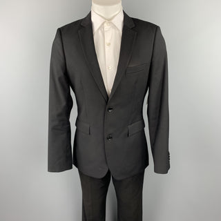 TOP MAN Size 40 Regular Black Polyester Blend Notch Lapel Suit