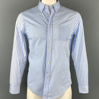 WOOSTER + LARDINI Size M Blue & White Stripe Cotton Long Sleeve Shirt