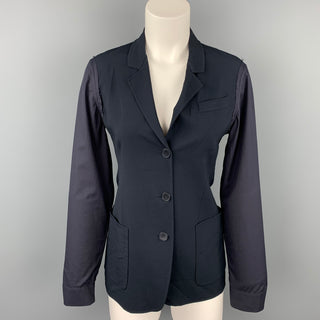 JIL SANDER Size 4 Black Virgin Wool Blend Jacket Blazer