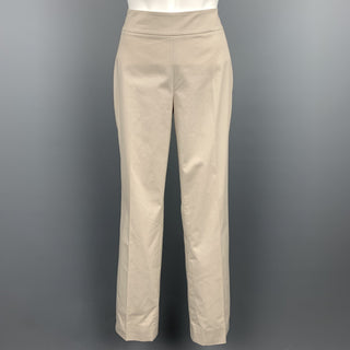 AKRIS Size 4 Khaki Cotton Straight Leg Casual Pants