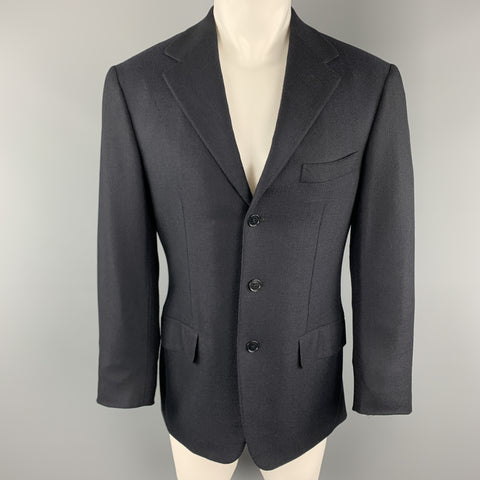 SAINT ANDREWS 38 Regular Navy Woven Cashmere Notch Lapel  Sport Coat
