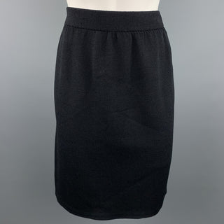 ST. JOHN Size 4 Black Knitted Wool / Rayon Pencil Skirt