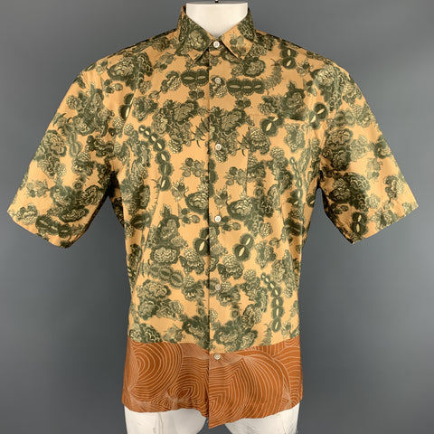 DRIES VAN NOTEN Size XL Gold & Green Floral Cotton Bronze Hem Short Sleeve Shirt