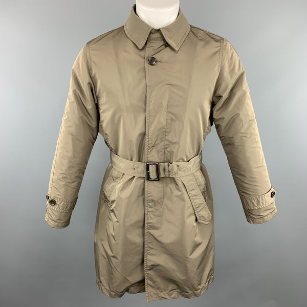 BEAMS Chest Size S Olive Polyester Buttoned Belted Long Coat