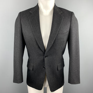 GEORGE REPINEC 36 Black & Grey Herringbone Wool Notch Lapel Sport Coat