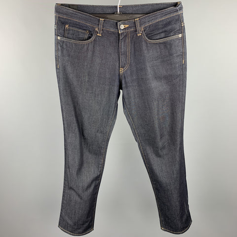EDIFICE Size 34 Indigo Contrast Stitch Denim Zip Fly Jeans