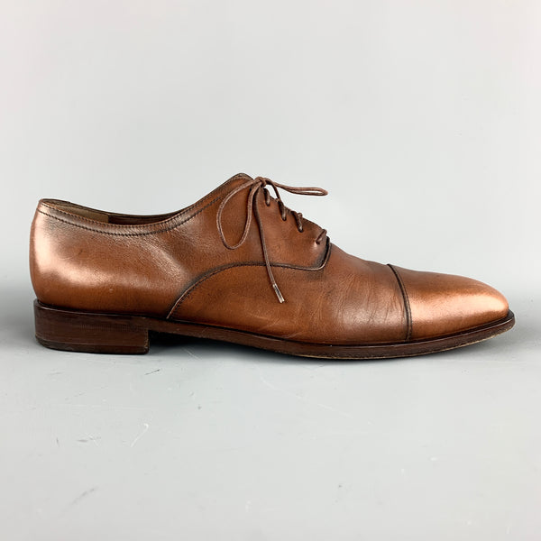 SALVATORE FERRAGAMO Size 11 Tan Antique Leather Cap Toe Lace Up Shoes