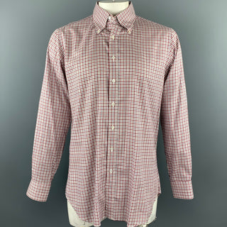 HAMILTON Size L Red & Navy Window Pane Cotton Button Down Long Sleeve Shirt