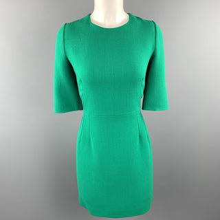 DOLCE & GABBANA Size 10 Green Wool Crepe Three Quarter Sleeve Shift Dress