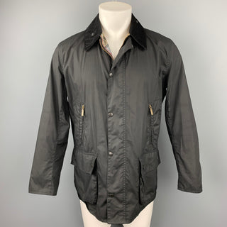 BARBOUR Size M Black Waxed Cotton Zip & Snap Button Jacket