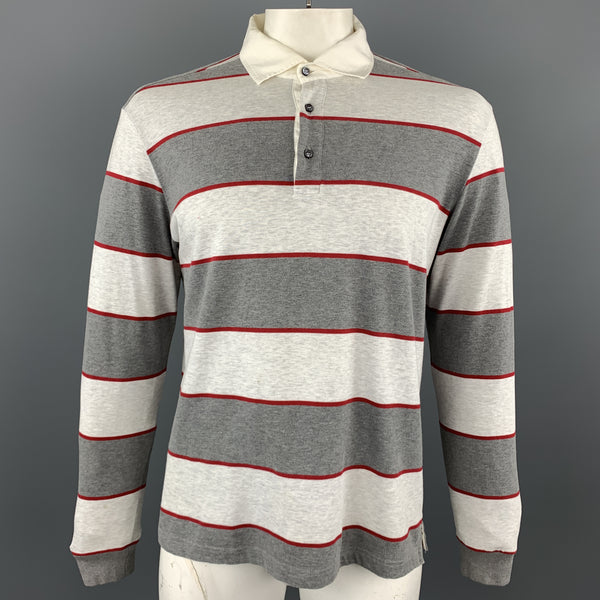 LORO PIANA Size XL Grey & Red Striped Cotton Buttoned Long Sleeve Polo