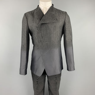 EMPORIO ARMANI Size 38 Charcoal Ombre Polyester Blend Asymmetrical Suit