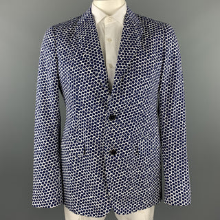 JIL SANDER by RAF SIMONS Size 44 Navy & White Geometric Cotton Notch Lapel Sport Coat