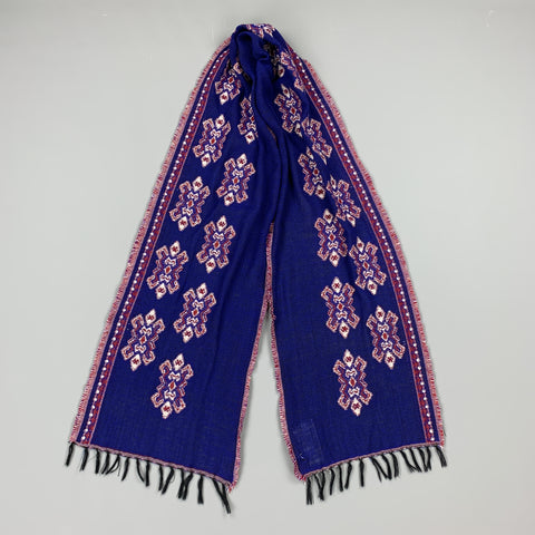 Blue & Red Print Wool Knit Fringe Scarf