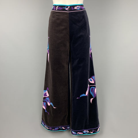 EMILIO PUCCI Vintage Size 14 Black & Brown Blue & Purple Floral Velvet Pants
