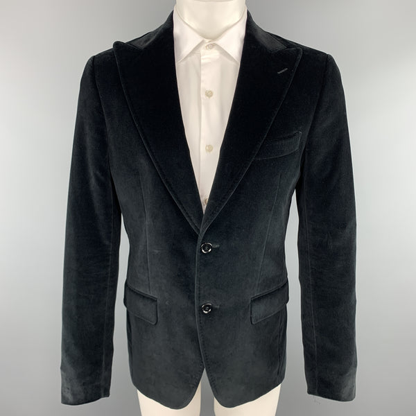 DOLCE & GABBANA Size 38 Black Cotton Velvet Peak Lapel Sport Coat