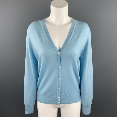 TSE Size M Light Blue Knitted Wool Buttoned Cardigan
