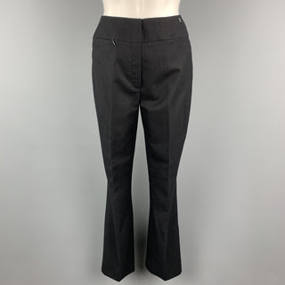 CHANEL Size 2 Black Wool Zip Fly Zip Pocket Silver Logo Dress Pants
