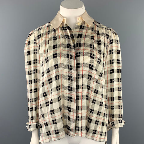 VINTAGE Size L Cream & Black Plaid Silk Pleated Blouse