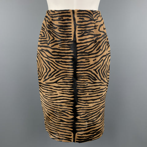BILL BLASS Size 8 Tan Animal Print Pony Hair Leather Pencil Skirt
