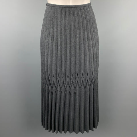 BLANC de CHINE Size 6 Grey Knife Pleated Polyester Wrap Skirt