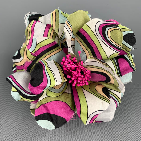 EMILIO PUCCI Abstract Multi-Color Flower Pin