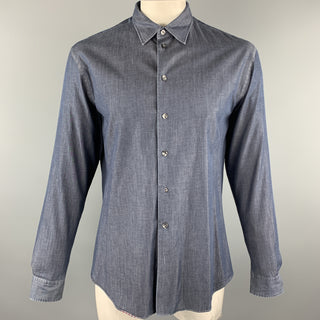 ARMANI COLLEZIONI Size XL Navy Cotton Button Up Long Sleeve Shirt