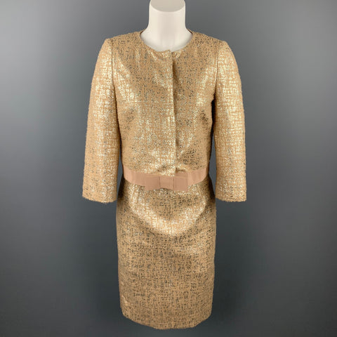 GIAMBATTISTA VALLI Size 6 Gold Tweed Acrylic Blend Cropped Skrit Suit