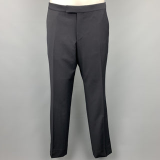 Z ZEGNA Size 32 Black Wool Zip Fly Dress Pants