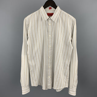 HUGO BOSS Size S Light Gray Stripe Cotton Button Up Long Sleeve Shirt