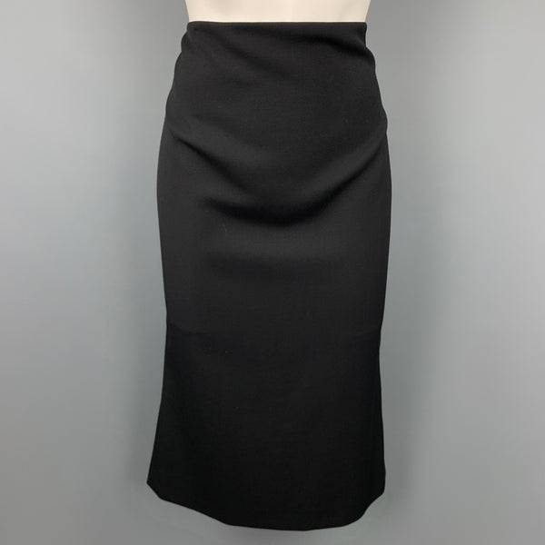 MIU MIU Size 8 Black Twill Virgin Wool Pencil Skirt