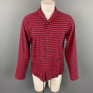 ENGINEERED GARMENTS Size L Red & Navy Stripe Cotton Long Sleeve Shirt